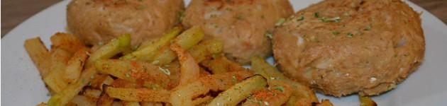 Galeriebild - Thunfischfrikadellen mit Low Carb Pommes (Kohlrabi)
