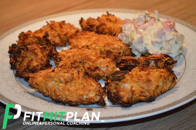 Chicken Nuggets mit Knoblauch-Dip_Serviervorschlag_Fitness_Rezept